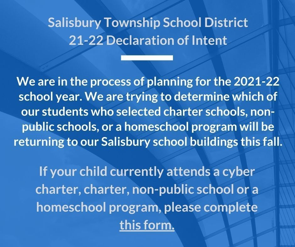 Non-Public/Charter/Cyber Charter/Homeschool Student- Fall 21-22 Declaration of Intent - Due May 7th!