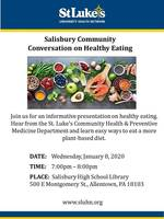 Jan. 8 Salisbury Community Conversation on Healthy Living