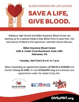 April 21 Adopt a Day Blood Drive for Salisbury!